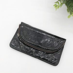 LATICO Patent Leather Foldover Zip Flap Wallet